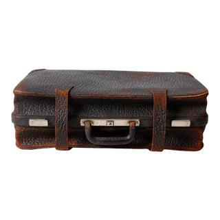 Vintage Black Leather Suitcase For Sale