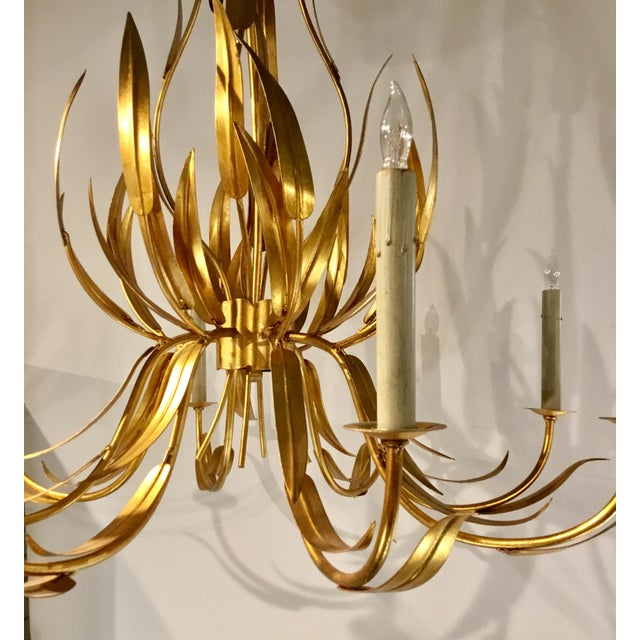 Italian Currey & Co. Italian Toile Style Transitional Longleaf Gold Chandelier For Sale - Image 3 of 6