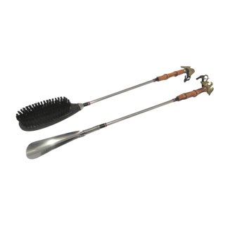 1960s Mid Century Modern Shoe Horn and Shoe Brush - 2 Pieces For Sale