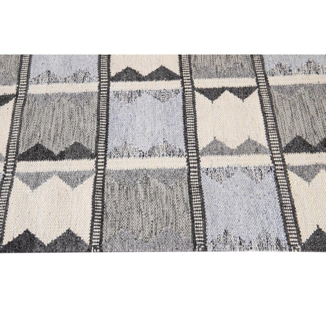 White 21st Century Contemporary Swedish Style Runner Rug, 3' X 12' For Sale - Image 8 of 11