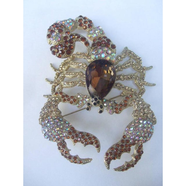 Massive Glittering Crystal Scorpion Brooch For Sale - Image 4 of 6