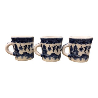 Nasco Japan Blue Will Coffee Cups in Blue and White Set of 3 For Sale