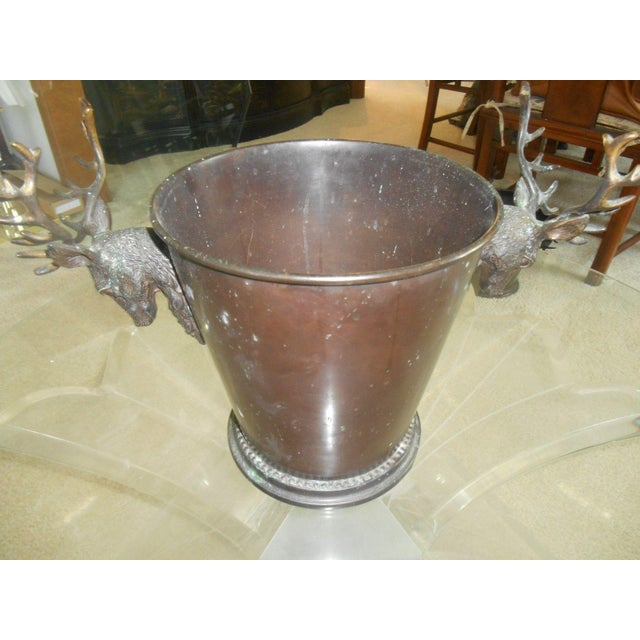 Vintage Bronze Ice Bucket with Stag Handles - Image 2 of 6