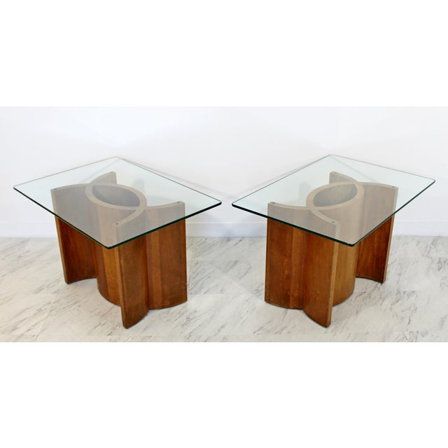 Mid Century Modern Sculptural Wood Glass End Tables - a Pair For Sale - Image 11 of 11