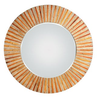 Bamboo Large Round Split Bamboo Mirror With Beveled Mirror For Sale