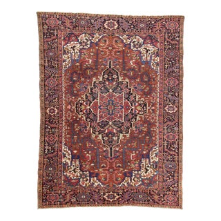 Vintage Decorative Large Persian Hareez Rug - 8′2″ × 11′1″ For Sale