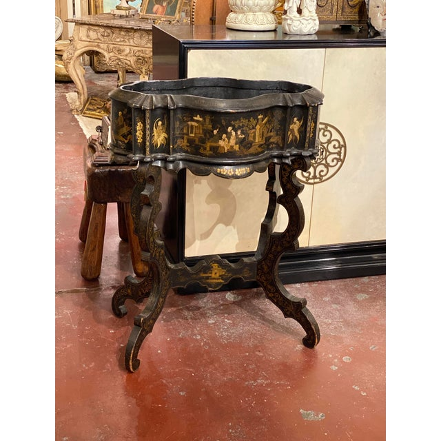 Black 19th Century Vintage Chinoiserie Plant Stand For Sale - Image 8 of 9