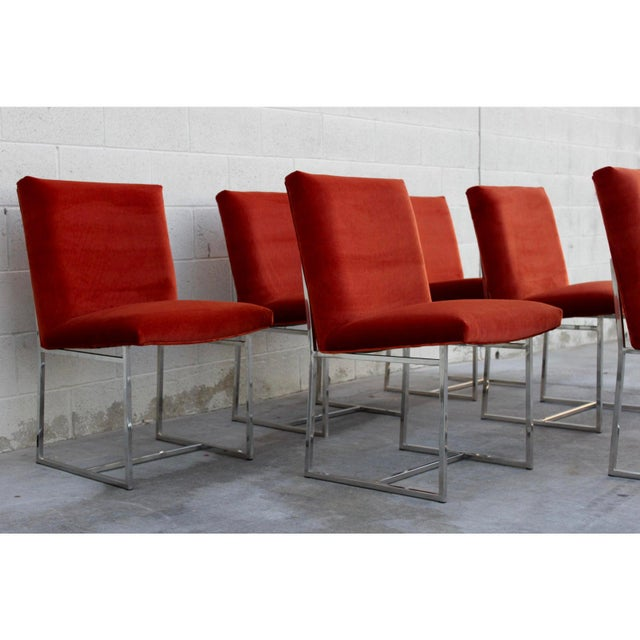 Danish Modern Mid Century Modern Milo Baughman for Thayer Coggin Rust Persimmon Dining Chairs-Set of 6 For Sale - Image 3 of 10
