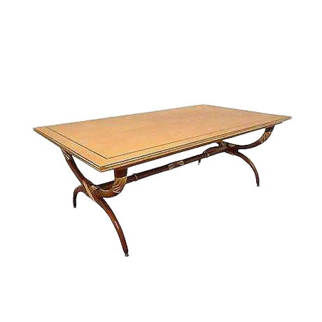 High Quality French Regency Directoire X Base Coffee Table W/ Gilt Accents For Sale