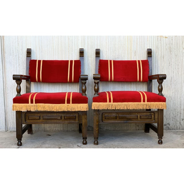 Spanish 19th Set of Six Spanish Low Armchairs in Carved Walnut and Red Velvet Upholstery For Sale - Image 3 of 12