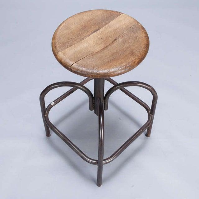 Vintage Wood & Steel Industrial Stool - Image 3 of 5