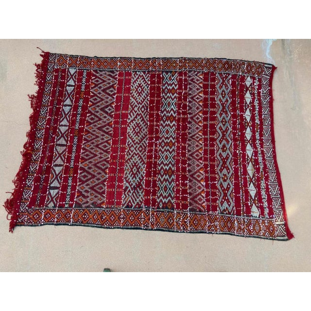 Moroccan Vintage Ethnic Textile with Sequins North Africa, Handira For Sale - Image 9 of 13