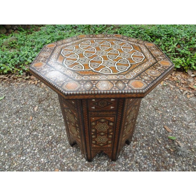 Antique Middle Eastern Arabesque Style Mother of Pearl Inlaid Table For Sale - Image 9 of 13