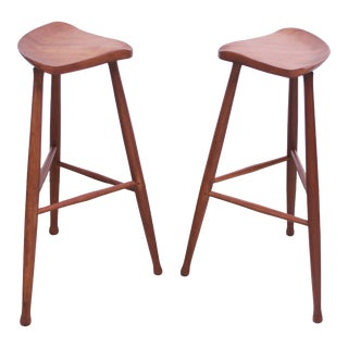 Pair of Vintage Solid Walnut Studio Craft Bar Stools by David Scott For Sale