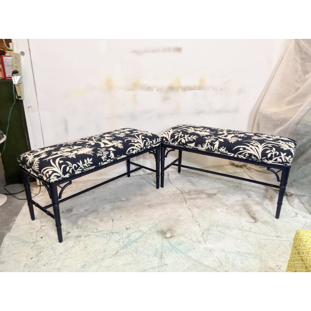 Pair of 1970s navy lacquered ottomans newly upholstered in a Chinoiserie printed cotton(may be a cotton linen blend).