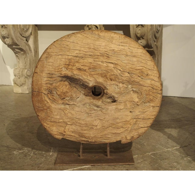 Antique Mounted Wooden Work Wheel From India For Sale - Image 4 of 10