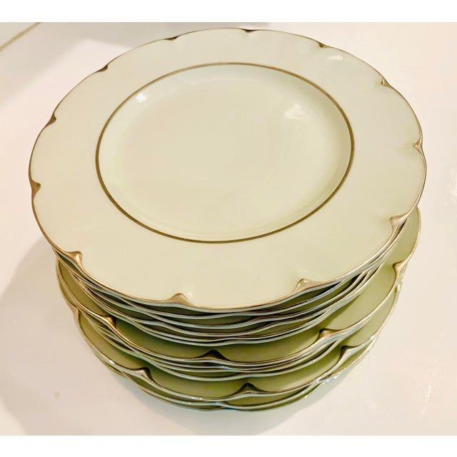 """Theodore Haviland """"Concorde"""" Limoges Celadon and Silver Scalloped Plates - Set of 13 For Sale In New York - Image 6 of 11"""