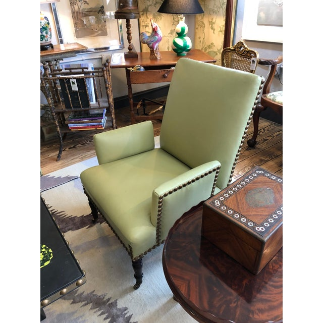 George Smith Vintage Lime Green Leather George Smith Club Chairs- A Pair For Sale - Image 4 of 11