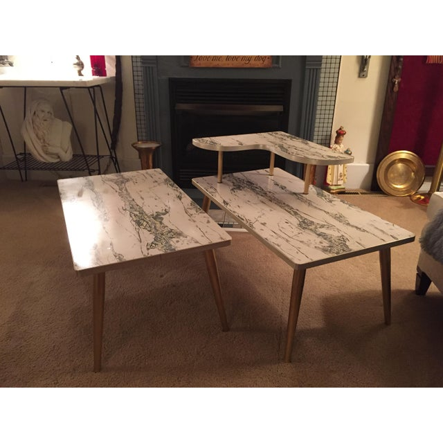 Mid-Century Formica Marble End Tables - A Pair - Image 2 of 10