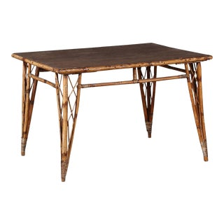 Vintage Bamboo Dining Table For Sale