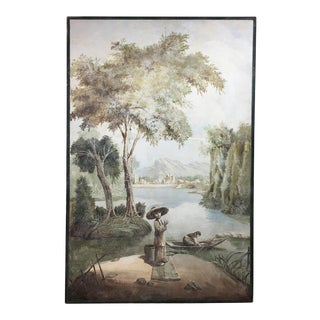 "Mid 20th Century Vintage ""Tranquil River"" Chinoiserie Painting For Sale"