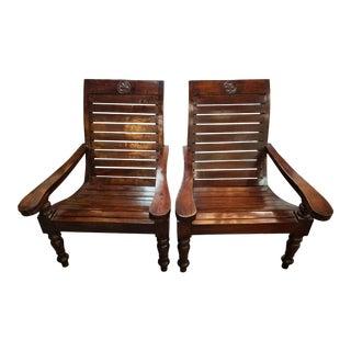 British Colonial Walnut Veranda Chairs - A Pair For Sale