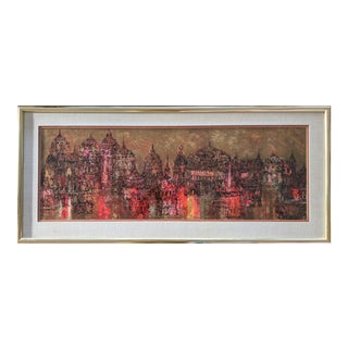 Buddhist Temple Citiscape Gold Silk Screen Print For Sale
