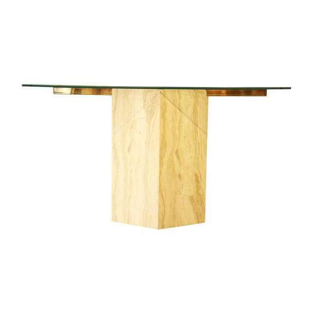 Ello Italian Travertine and Glass Console Table - Image 1 of 8
