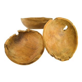 20th Century Boho Chic Style Wooden Bowls For Sale