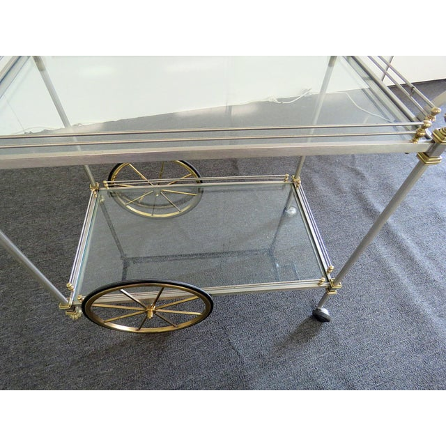 Gold Mid 20th Century Regency Style Bar Cart For Sale - Image 8 of 10