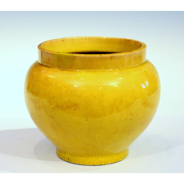 Asian Antique Japanese Awaji Pottery Yellow Monochrome Vase For Sale - Image 3 of 10