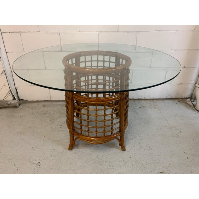 Mid-Century Modern Rattan and Brass Dining Set For Sale - Image 3 of 10