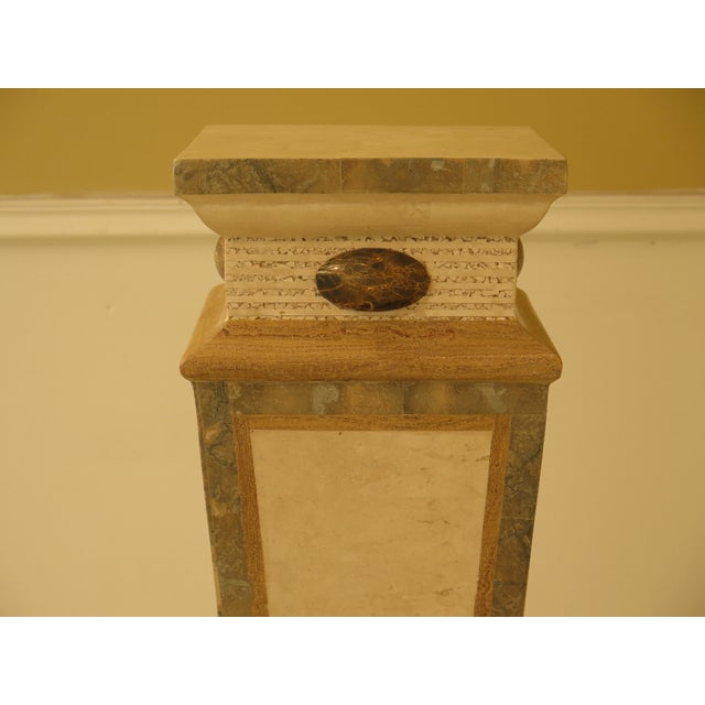 Neoclassical Revival Modern Maitland Smith Style Marble Overlay Gueridon Pedestal For Sale - Image 3 of 8