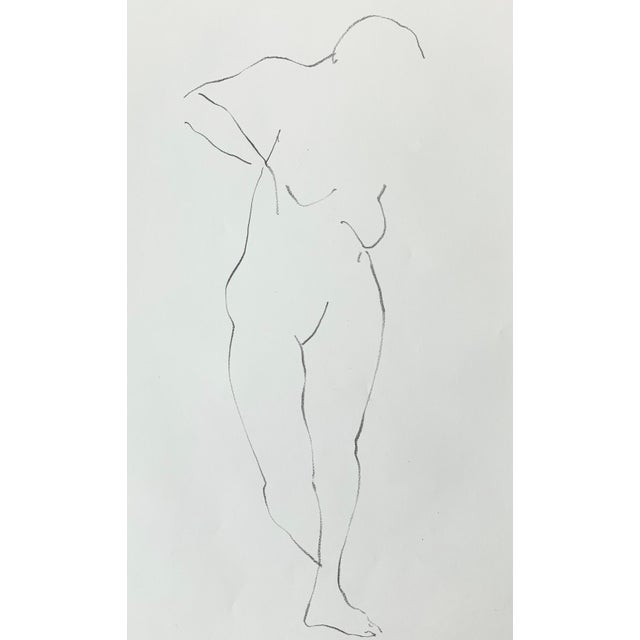 Vintage figurative nude drawing by San Francisco artist Jack Freeman (1938-2014). Beautiful as a stand alone piece or part...