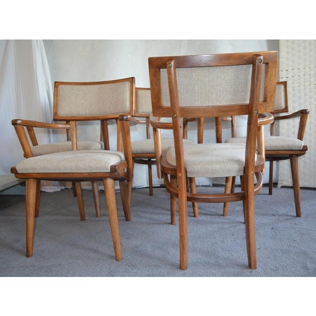 Fabric Mid Century Ash Chairs - Set of 5 For Sale - Image 7 of 10