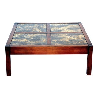 Mid Century Modern Walnut Square Coffee Table For Sale