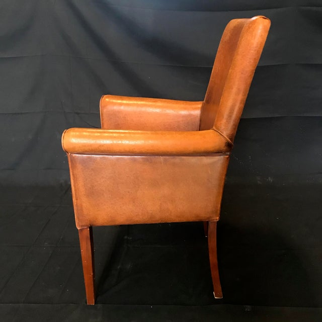 French Vintage Leather Armchairs -Set of 6 For Sale - Image 10 of 13