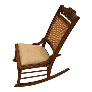 Antique Eastlake Cane & Walnut Wood Rocker For Sale