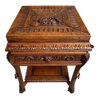 19th Century French Carved Oak Card Game Table Breton Brittany Flip Top Side For Sale