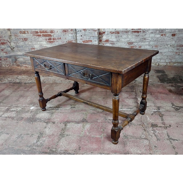 Spanish Revival Two Drawer Writing / Dining Table For Sale - Image 10 of 10