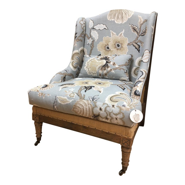 Modern Farmhouse Chair in Celerie Kimball for Schumacher Fabric Upholstery For Sale