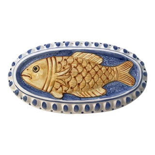Vintage Ceramic Fish Mold Wall Hanging For Sale