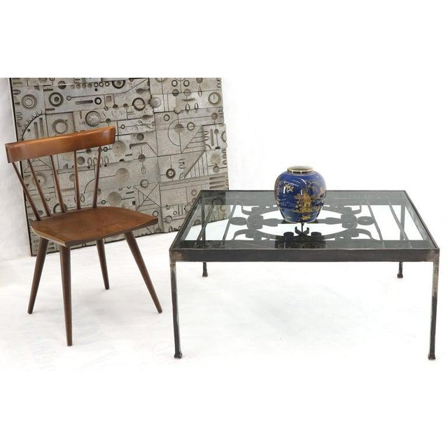 Mid-Century Modern Massive Wide Rectangle Glass Top Wrought Iron Coffee Center Table For Sale - Image 3 of 11
