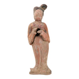 19th Century Antique Chinese Tan Dynasty Pottery Figurine For Sale