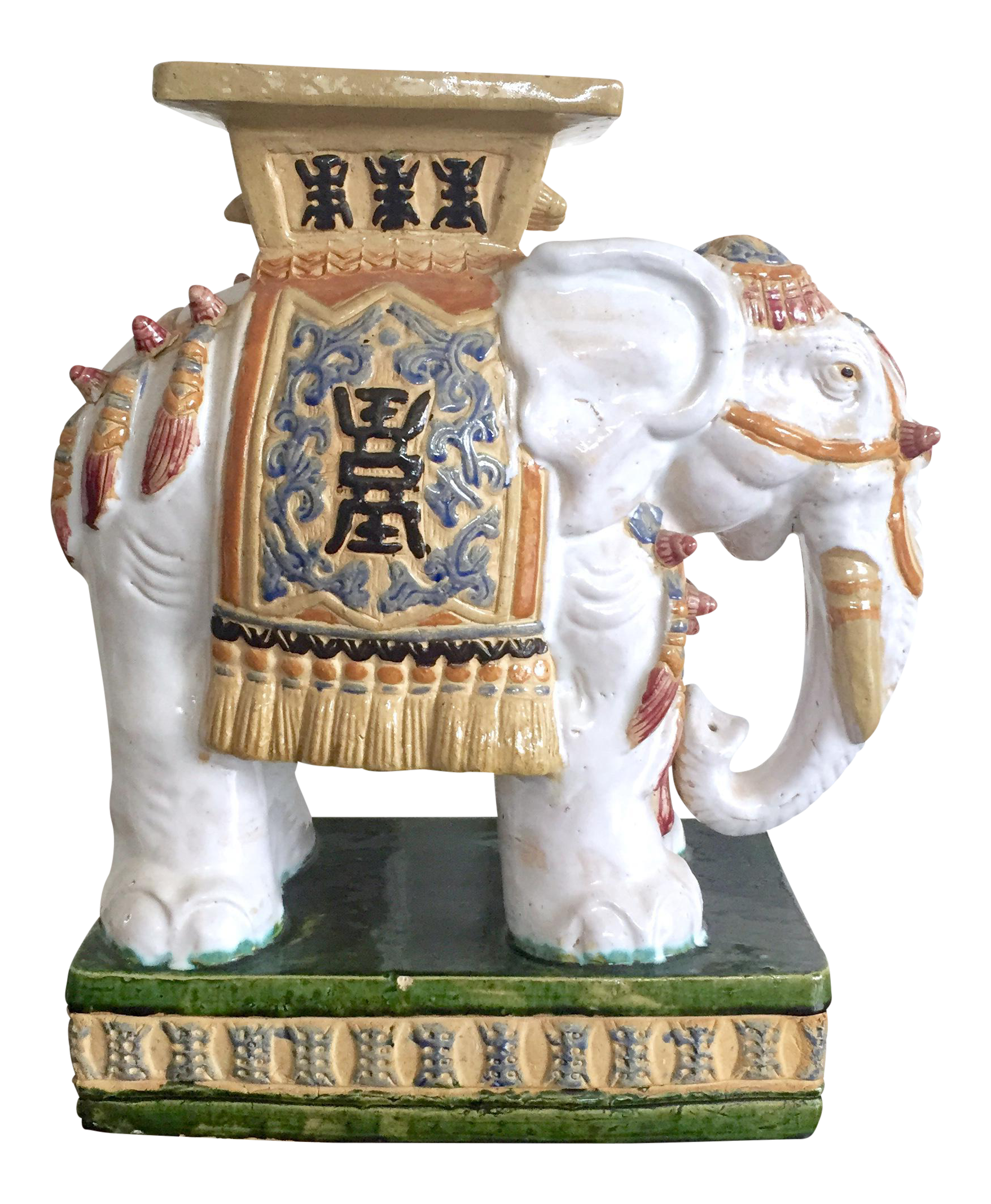 Vintage Colorful Ceramic Elephant Garden Stool Chairish