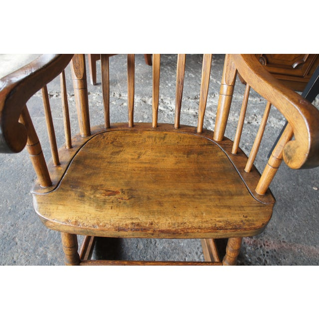 19th Century Antique Chestnut Windsor Comb Back Rocking Chair For Sale - Image 12 of 13