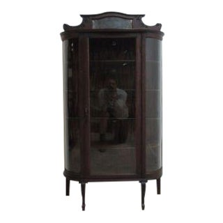 Antique Tiger Oak Bow Glass Curio Cabinet Display Hutch For Sale