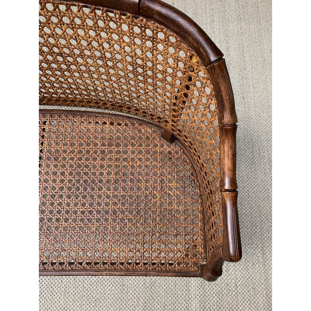 Brown Mid 20th Century Hollywood Regency Chippendale Style Faux Bamboo and Cane Settee For Sale - Image 8 of 10