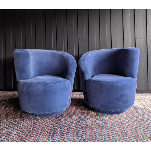 """Pair of """"Nautilus"""" swivel club chairs by Vladimir Kagan for Directional Furniture. So sculptural, beautiful and..."""