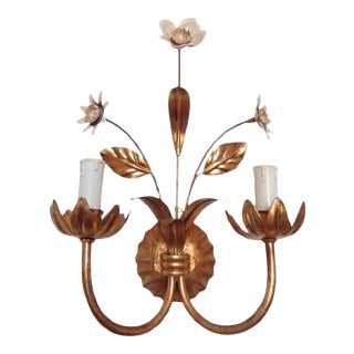 French Flowers Wall Lamp, 1950s For Sale
